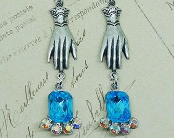 Aqua Jewels in Hand // Silver Victorian Hand Earrings with 1950s Turquoise & AB Crystal Swarovski, Vintage Bride Boheme Art Deco Bohemian