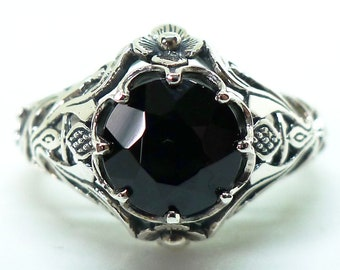 Art Nouveau Onyx Solitaire Ring Sterling Silver, Antique Style Gemstone Victorian Edwardian Bohemian Bride Engagement Gothic Mourning Witch