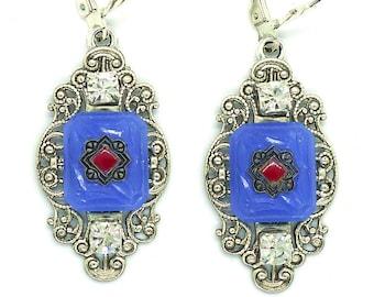 Deco Squares // Vintage 1930s Blue & Red Art Deco Glass Earrings w/ Swarovski Crystals, Handpainted Silver Filigree Gatsby Bohemian Boudoir