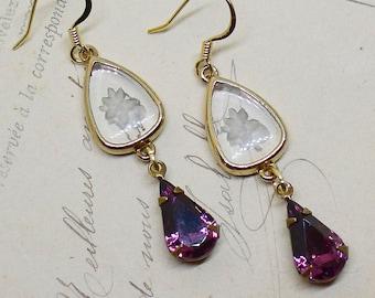 Shy Violet // Vintage Glass Intaglio Flower Cameo Earrings with 1950s Amethyst Swarovski Drops, Bridal Bride Boheme Art Deco Midcentury Boho