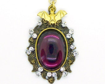 Amethyst Bat Pendant // Vintage Purple Jewel & Gold Bat Necklace w/ 1950s Swarovski Crystals Gothic Goth Fantasy Birthstone Vamp Victorian