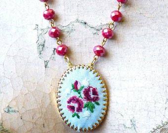 Cottage Stitches // Hand Embroidered Cameo Necklace Pink Roses Blue Silk Cottagecore Shabby Chic Red Beads Rosary Witchy Whimsy Boheme Retro
