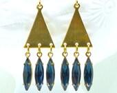 Montana Fringe Geometric Minimalist Chandelier Fringe Earrings on Brass Triangles w 1950s Navette Shaped Crystal Gems, Boheme Retro Deco