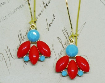 Bird of Paradise // Vintage Rhinestone Drop Earrings with Coral Orange and Turquoise Glass Gems on Gold, Gypsy Boheme Art Deco Bohemian Boho