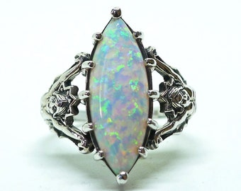 Incredible Art Nouveau Mermaid Opal Ring in Sterling Silver, Antique Art Deco Victorian Edwardian Gothic Mythical Siren Witch Gypsy Goddess