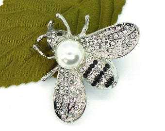 Bumble Baby // Silver Bumble Bee Brooch w/ Crystals Pearl, Honey Bee Nature Midcentury Pinup Retro Kitschy Insect Jewelry Pin Fairy Woodland