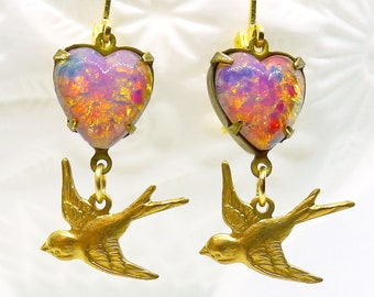 Lovey Doves // Sweet Little Drop Earrings with 1950s Pink Fire Opal Hearts and Gold Birds, Midcentury Vintage Pinup Girl Boheme Retro Tattoo