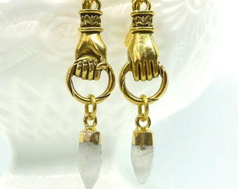 Spike in Hand // Gold Plated Figural Hand Earrings with Moonstone Spikes in 24k Gold, Oddities Witchy Boho Goth Nugoth Gemstone Witch Gothic