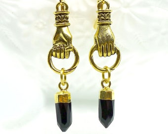 Spike in Hand // Gold Plated Figural Hand Earrings with Onyx Spikes in 24k Gold, Oddities Witchy Boho Goth Nugoth Gemstone Witch Gothcore