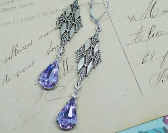 Modern Love // Alexandrite Swarovski Crystal Earrings on Harlequin Silver Diamonds Wedding Vintage Bride Bridal Midcentury Art Deco Mod Boho