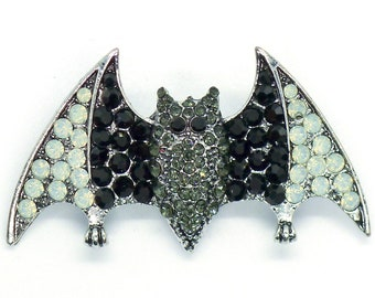 Bat Brooch / Large Jet & Opal Crystal Bat Pin Pendant Costume Jewelry Goth Halloween Gothic Nugoth Pinback Witch Witchy Vampire Nugoth Noir