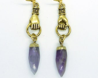 Spike in Hand // Gold Plated Figural Hand Earrings with Amethyst Spikes in 24k Gold, Oddities Witchy Boho Goth Nugoth Gemstone Witch Gothic