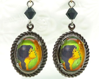 Goodnight Moon Kiss // Art Deco Handmade Cameo Earrings in Silver Man In The Moon Jet Swarovski 1920s Pinup Celestial Moonchild Papermoon