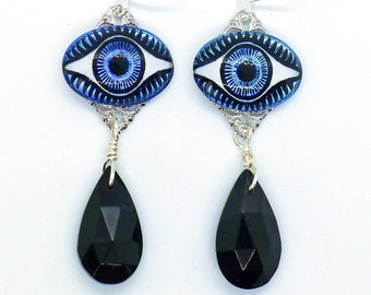 Holographic Eyes // Gorgeous Evil Eye Drop Earrings w/ Vintage Glass Eyes, 1940s Jet Boho Gypsy Witch Third Eye Bohemian Occult Goth Witchy
