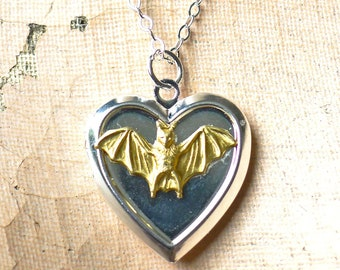 Bat Love // The Cutest Heart Locket w/ Mini Gold Bat on Silver Plated Locket Bat Necklace Gothic Witch Gypsy Occult Goth Gothcore Vampire