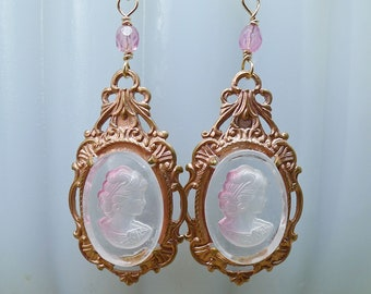 Pink Ladies // 1950s Vintage Intaglio Cameo Earrings in Rose Gold w/ Pink Czech Glass and 14K Gold Wires Victorian Edwardian Art Deco Boheme