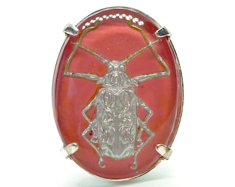 Betelgeuse Ring // Vintage Intaglio Glass Cameo Beetle Adjustable Ring Insect Jewelry Silver Pink Beetlejuice Halloween Retro Pinup Goth Mod