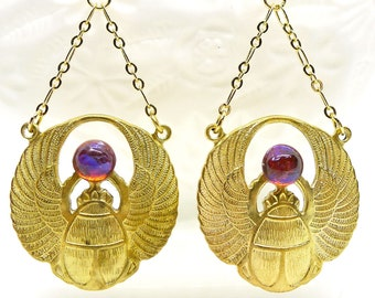 Stunning Scarab // Gold Brass Scarab Statement Earrings w/ Vintage 1950s Mexican Fire Opals Dragons Breath Egyptian Revival Art Deco Egypt
