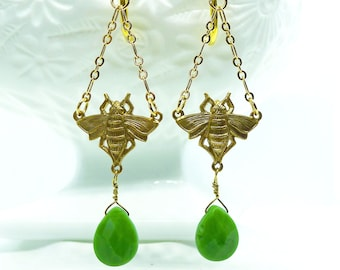 Psychedelic Bees // Gold Art Deco Bee Earrings with Green Gemstone Teardrop Nature Bohemian Egyptian Revival Flapper Retro Boho Pinup Modern
