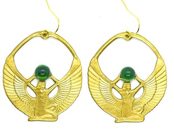 Emerald Isis Wings // Gold Statement Earrings with Egyptian Goddess Isis w/ Vintage Emerald Gem Bohemian Gothic Ankh Art Deco Egypt Revival