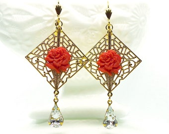 Coral Rose Drops //  1950s Glass Coral Roses on Gold Filigree w/ Swarovski Crystal Drops Retro Pinup Glamour Cottagecore Shabby Chic Vintage