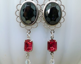 Roses and Hematite // 1940s German Glass Jewel Drop Earrings with 1950s Hot Pink Gems and AB Crystal Pinup Boheme Gothic Boho Vintage Bride