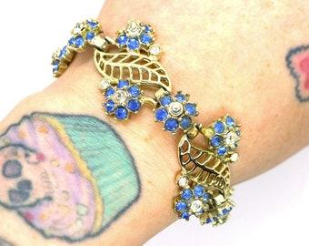 Blue Belle / Vintage Blue Rhinestone Flower and Gold Bracelet Midcentury 1960s Madmen Retro Pinup Girl Crystals Glamour Boudoir Burlesque