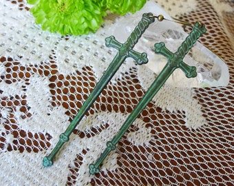 Sword in the Stone // Verdigris Sword Earrings with Heart Detail, Long Shoulder Dusters, Antiqued, Gothic Couture Witch Medievil Occult Boho