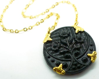 Jet Noir // Vintage Art Deco Jet Glass Medallion Necklace, Gold Plated Chain Mourning Goth Gothic Cottagegoth Witchy Bohemian Flapper Retro
