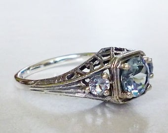 Stunning 3 Stone Aquamarine Ring in Sterling Silver Antique Style Victorian Edwardian Filigree Art Nouveau Art Deco Semiprecious Bride March