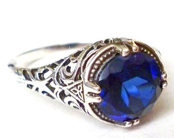Stunning 2 carat Sapphire Solitaire Ring in Sterling Silver Filigree Antique Style Victorian Edwardian Art Nouveau Art Deco Bride Bohemian