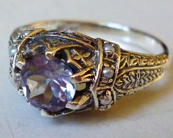Color Changing Alexandrite and Seed Pearl Ring Sterling Silver, Precious Gemstone Art Nouveau Art Deco Edwardian Victorian Bridal Bohemian