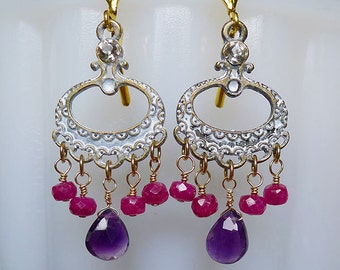 Luxe Chandeliers // Exotic Chandelier Earrings with Natural Ruby and Amethyst and Gold Plated Findings, Bohemian Gemstones Gypsy Bridal Deco