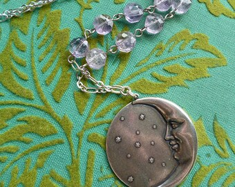 Amethyst Moon // Silver Plated Crescent Moon and Stars Pendant Necklace with Natural Amethyst, Bohemian Boho Gypsy Gemstone Witch Pagan Deco