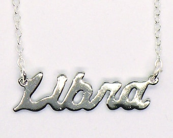 What's Your Sign Necklace // Vintage Silver Plated LIBRA Astrology Nameplate Necklace Horoscope Zodiac Boho Retro Witchcore Witchy Astrology