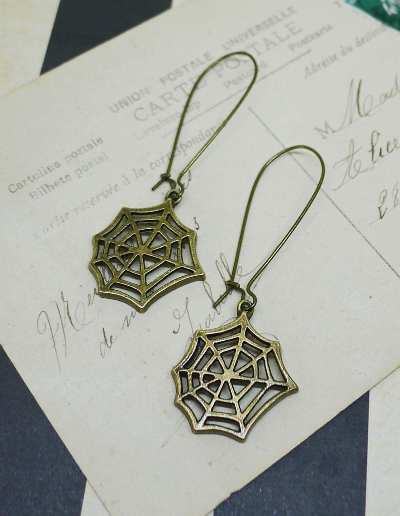 b213678c0 Old Gold Webs // Brass Spiderweb Earrings on Long Wires | Etsy