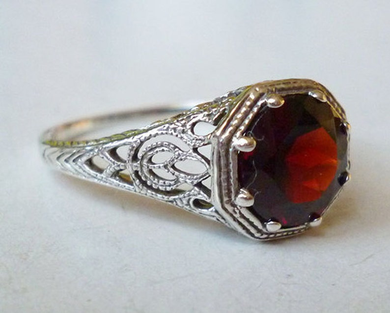Garnet Solitaire Ring in Sterling Silver  Filigree Antique Victorian Edwardian Nouveau Deco Gothic Bohemian Engagement Birthstone Gypsy