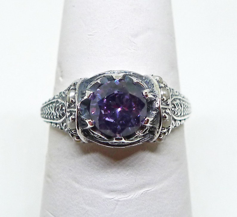 Color Changing Alexandrite and Seed Pearl Ring in Sterling Silver Size 8 Art Nouveau Art Deco Edwardian Victorian Bridal Bohemian Boheme