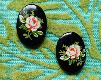 Gothic Roses // Vintage 1950s Jet Glass Pink Rose Stud Earrings, Goth Boheme Bohemian Pinup Vintage Bride Bridesmaid Retro Midcentury Deco