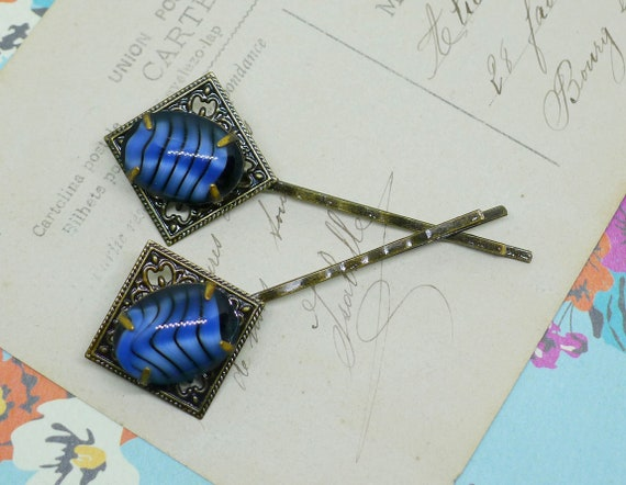 Blue Bengal // Antiqued Brass Bobby Pin Set with Blue Striped 1950s Vintage  Gems, Hair Pins Bride Bridesmaid Bohemian Boheme Gypsy Art Deco