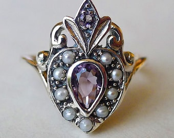 Amazing Sacred Heart Ring with Amethyst and Seed Pearls in Sterling Silver Sz 8 / Semiprecious Gemstone Victorian Nouveau Memento Boho Deco