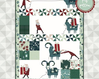 Instant Download-The Yule Goat Quilt Pattern. Yuletide by meags & me.  Christmas Pattern. Applique and Embroidery. Modern Applique
