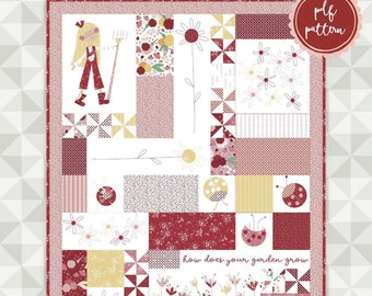 Instant Download- Quite Contrary Quilt Pattern. Ladybug Mania Fabric. meags & me quilt pattern. Mary Mary Quite Contrary