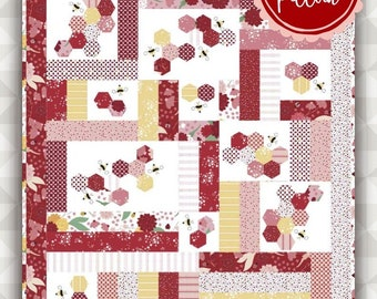 Instant Download Honeybee Quilt Pattern. Ladybug Mania Fabric. meags & me quilt pattern. jellyroll quilt