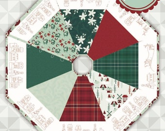 Instant Download: Noel Tree Skirt Pattern. Yuletide by meags & me.  Christmas Pattern Red work Tree Skirt. Quilt Tree Skirt . Embroidery