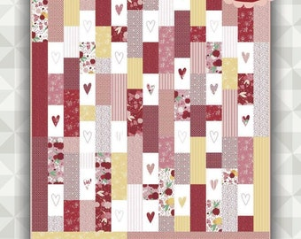 Instant Download- Heart Mania Quilt Pattern. Ladybug Mania Fabric. meags & me quilt pattern. Twin bed quilt. Heart quilt. Strip quilt