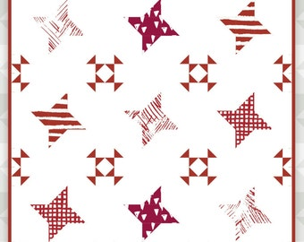 Instant Download: Gazing- a traditionally pieced quilt pattern. Quilt for bed. Quilt block pattern. Quilt piecing. Traditional Quilt Block.