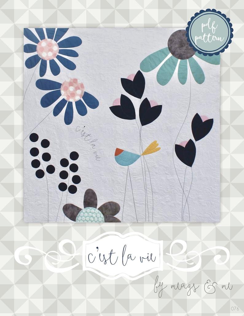 Instant Download SMALL C'est La Vie. Modern Quilt. Large image 0