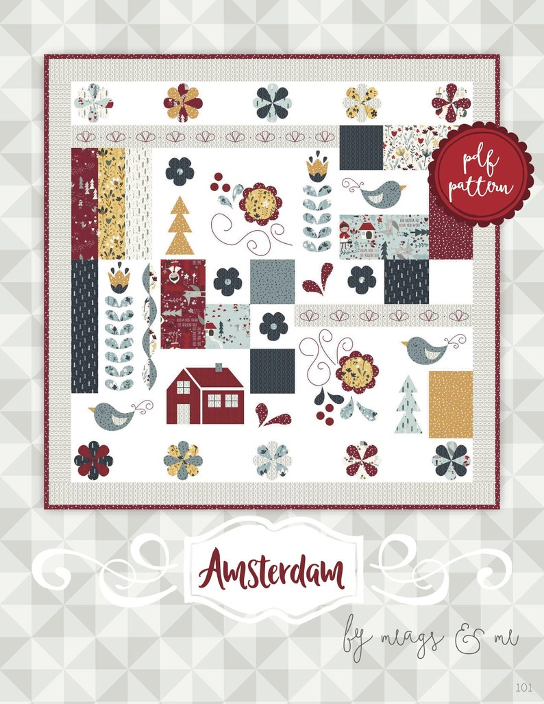 Instant Download Amsterdam. Applique and Embroidery Quilt image 0