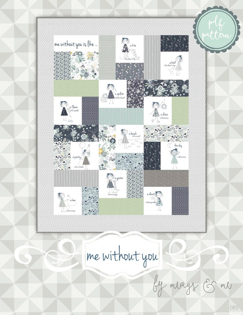 Instant Download Me Without You. An applique and embroidery image 0